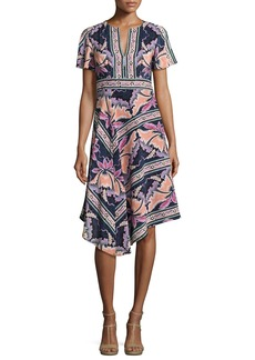 Nanette Lepore Short-Sleeve Asymmetric Printed Silk Dress