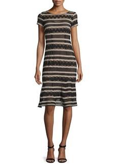 Nanette Lepore Short-Sleeve Chevron-Striped Dress