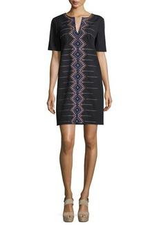 Nanette Lepore Short-Sleeve Embroidered Shift Dress
