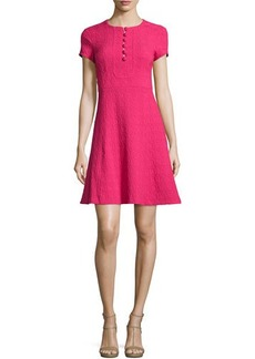 Nanette Lepore Short-Sleeve Jacquard Fit-and-Flare Dress