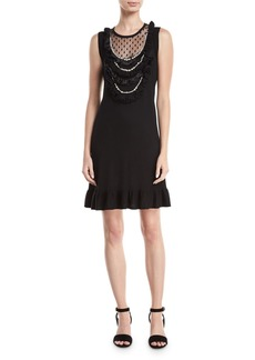 Nanette Lepore Sideshow Sleeveless Wool Cocktail Dress w/ Pearly Necklace