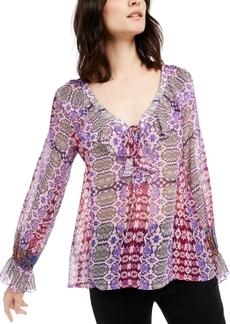 Nanette Lepore Silk Chiffon Ruffled Top