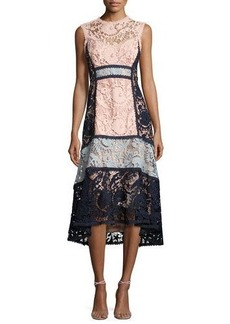 Nanette Lepore Sleeveless Colorblock Lace Midi Dress