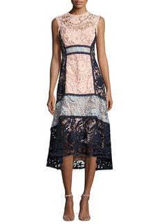 Nanette Lepore Sleeveless Colorblock Lace Midi Dress