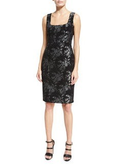 Nanette Lepore Sleeveless Floral Metallic Sheath Dress