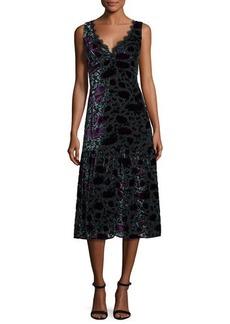 Nanette Lepore Sleeveless Floral Velour Midi Dress