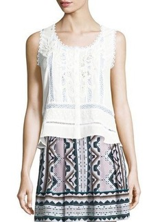 Nanette Lepore Sleeveless Lace-Inset Top