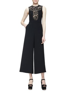Nanette Lepore Sleeveless Lace-Trim Crepe Wide-Leg Jumpsuit