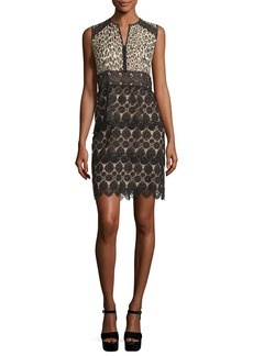 Nanette Lepore Sleeveless Leopard & Lace Sheath Dress