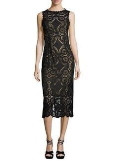 Nanette Lepore Sleeveless Medallion Lace Midi Dress