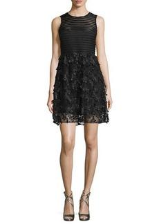 Nanette Lepore Sleeveless Mesh-Striped Combo Fit-&-Flare Dress