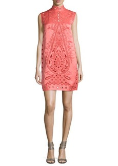 Nanette Lepore Sleeveless Mock-Neck Eyelet Shift Dress