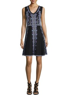 Nanette Lepore Sleeveless V-Neck Printed Fit & Flare Dress