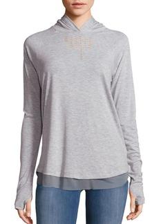 Nanette Lepore Soft Laser Cut Hooded Pullover