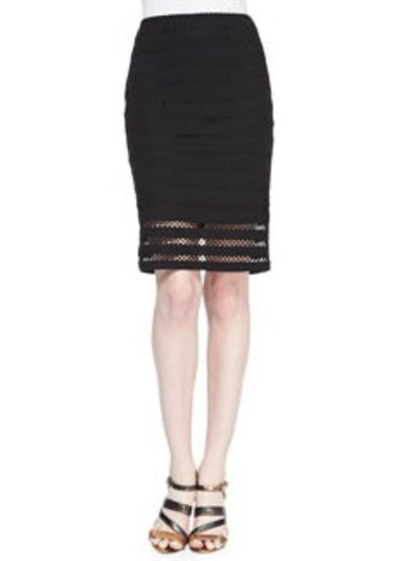 Nanette Lepore Sojourn Crochet-Stripe Pencil Skirt