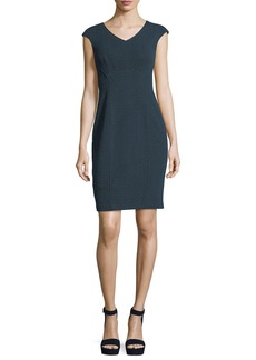 Nanette Lepore Sophia V-Neck Cap-Sleeve Textured Sheath Dress