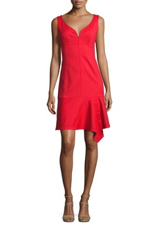 Nanette Lepore Sparkler Sleeveless Stretch Poplin Flounce Dress