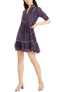 Nanette Lepore Split-Neck Silk Babydoll Dress