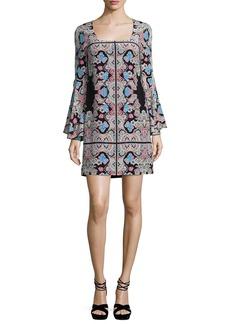 Nanette Lepore Stargazer Bell-Sleeve Silk Kaleidoscope Mini Dress
