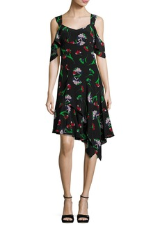 Nanette Lepore Sultry Sunset Floral Silk Cold-Shoulder Dress