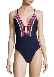 Nanette Lepore Swim Crochet-Trimmed One-Piece Swimsuit