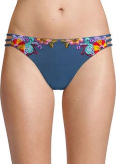 Nanette Lepore Embroidered Denim Bikini Bottom