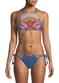 Paisley-Print Bikini Top