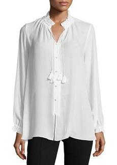 Nanette Lepore Tassel-Tie Button-Front Top