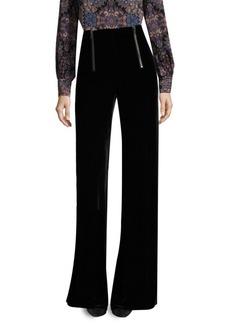 Textured Victoria Wide-Leg Velvet Pants