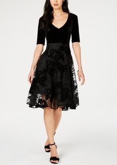 Nanette Lepore Velvet Lace Fit & Flare Dress, Created for Macy's