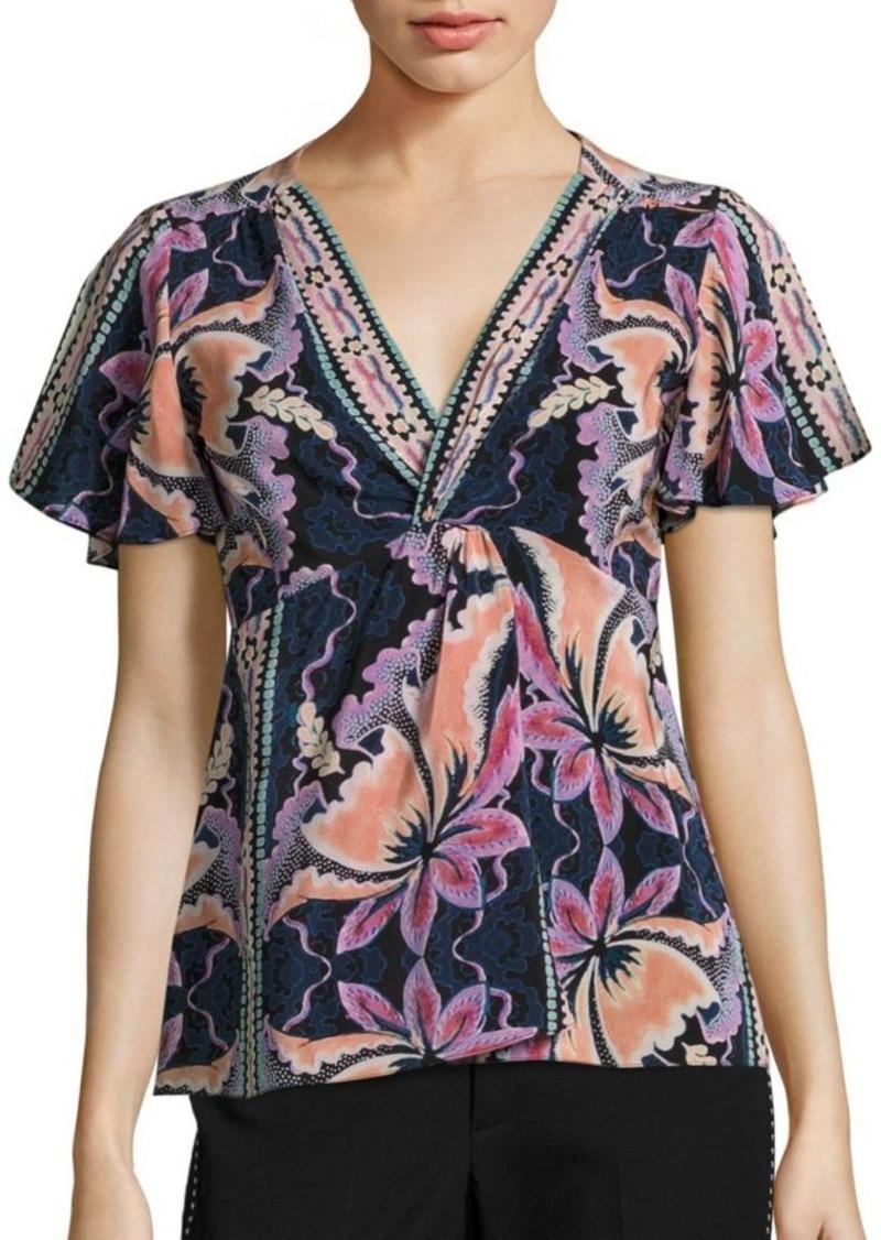 88370310249a74 On Sale today! Nanette Lepore Nanette Lepore Venus Floral-Print Silk Top
