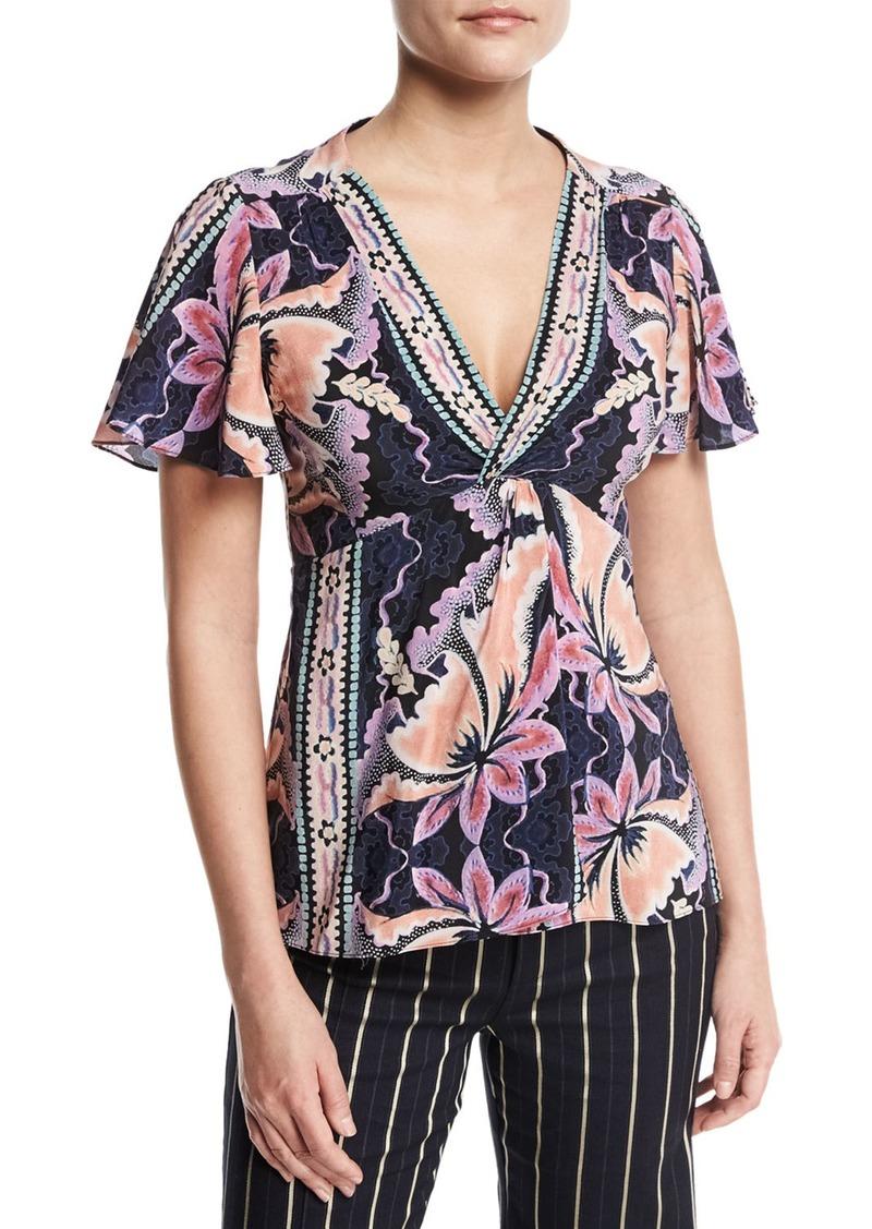 cd19511ea3632e Nanette Lepore Nanette Lepore Venus Short-Sleeve Floral Silk Top ...