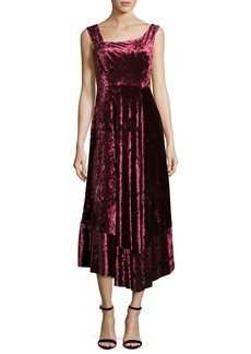Nanette Lepore Vixen Asymmetric-Neck Sleeveless Velvet Dress