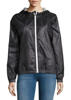 Water-Resistant Floral Cutout Hooded Jacket