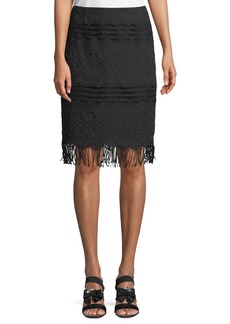 Nanette Lepore White Sands Fringe Skirt