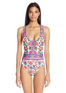 Nanette Lepore Women's Antigua Goddess Strappy Plunge Sexy One Piece Swimsuit  XS