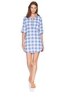 Nanette Lepore Women's Button Front Roll Sleeve Shirt Dress