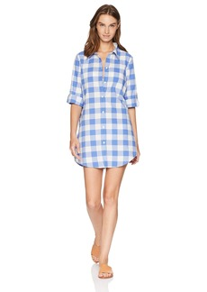 Nanette Lepore Women's Button Front Roll Sleeve Shirt Dress
