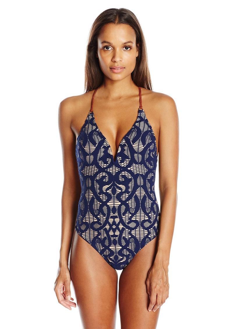 9cdd777307b Nanette Lepore Women's Coachella Valley Crochet Goddess V-Neck One Piece  Swimsuit M