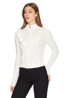 Nanette Lepore Women's Cordelia Ruffle Pointelle Zip from Sweater Cardigan  s