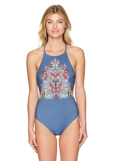 Nanette Lepore Women's Dazed Denim Goddess One Piece Swimsuit  S
