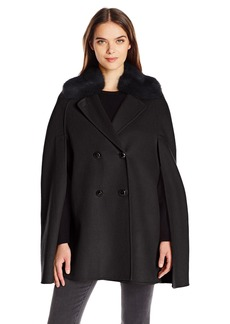 Nanette Lepore Women's Faced Wool Blend Double Breasted Cape with Faux Fur Collar
