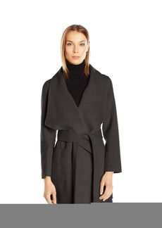 Nanette Lepore Women's Double Faced Wool Blend Wrap Coat with Patch Pockets