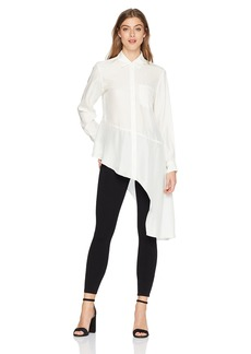 Nanette Lepore Women's Dramatic Asymetrical Hem Button Down Silk Shirt  l