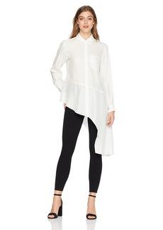 Nanette Lepore Women's Dramatic Asymetrical Hem Button Down Silk Shirt  l