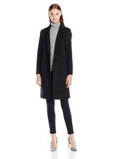 Nanette Lepore Women's Elegant Double Faced Single Breasted Wool Blend Coat