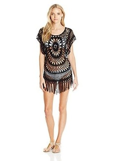 Nanette Lepore Women's Festival Fringe Tunic Short Sleeve Cover Up