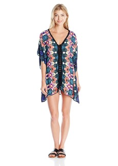 Nanette Lepore Women's Habanera Lightweight V-Neck Caftan Cover up With Crochet Detail