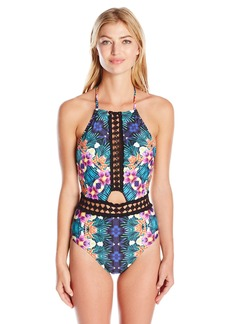 Nanette Lepore Women's Habanera Seductress High Neck One Piece Swimsuit with Key Hole and Crochet Trim