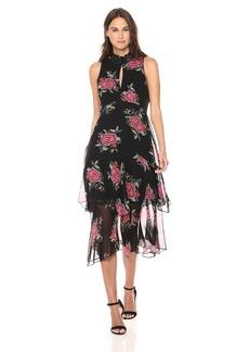 Nanette Lepore Women's LA Rosa Silk Chiffon Print Sleeveless Dress